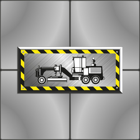 Heavy grader. Image on an industrial metal plate, bolted to the wall of gray slabs. Vector illustration.
