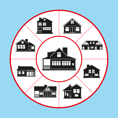 A set of vector icons in the form of a rug diagram on the topic of private houses. Vector illustration.