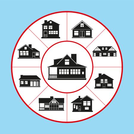 Un set di icone vettoriali sotto forma di un diagramma di tappeto sul tema delle case private. Illustrazione vettoriale.