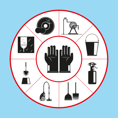 A set of vector icons in the form of a rug diagram on the topic of cleaning the premises. Vector illustration.