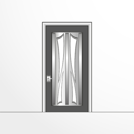 A door illustration in gray colors. Vectores