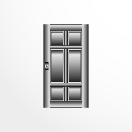 A door illustration in gray colors. Illusztráció
