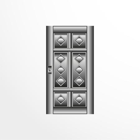 A door illustration in gray colors. Illustration