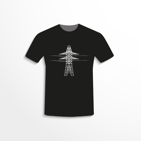 Black t-shirt with the image of the tower line high voltage. Foto de archivo - 122762817