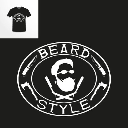 T-shirt with a picture of a man with a beard and shaving accessories. Vector illustration. Ilustrace