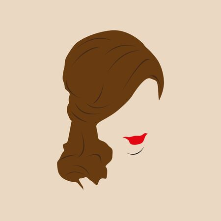 Female hairstyle and red lips. Vector illustration.