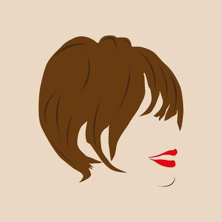 Acconciatura femminile e labbra rosse. Illustrazione vettoriale. Vettoriali