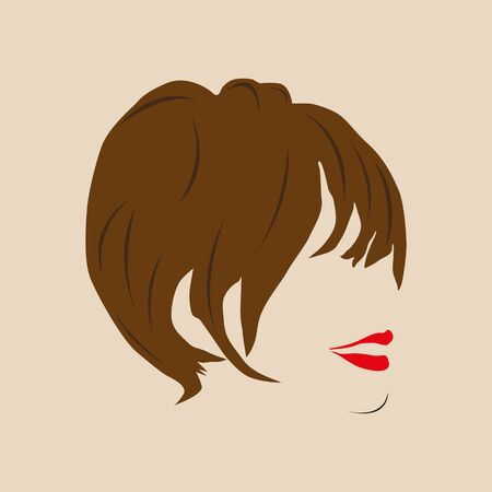 Vrouwelijk kapsel en rode lippen. Vector illustratie. Vector Illustratie