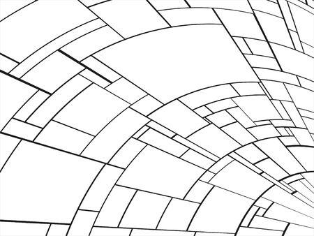 White elements with black stripes. Abstract composition. Black-white vector illustration. Ilustração