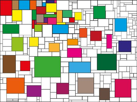 Colored rectangles surrounded by white rectangles. Abstract composition. Color vector illustration.