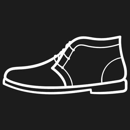 Beautiful hand-drawn outlined icon of a boot in dark background