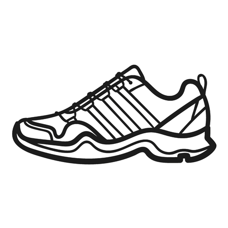 Mans sneakers outlined icon in white background