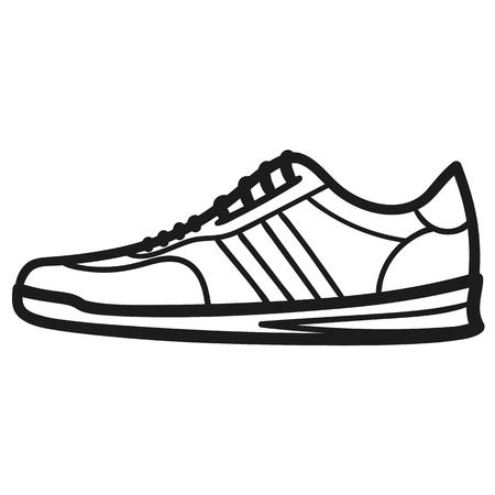 Schöne handgezeichnete umrissene Ikone eines Sneakers in weißem Hintergrund Vektorgrafik