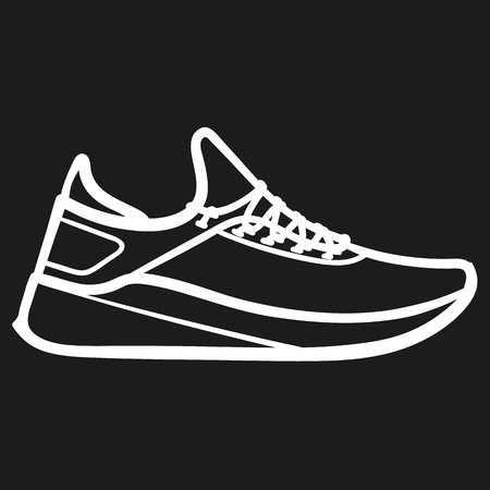 Beautiful hand-drawn outlined icon of a running sneaker in dark background