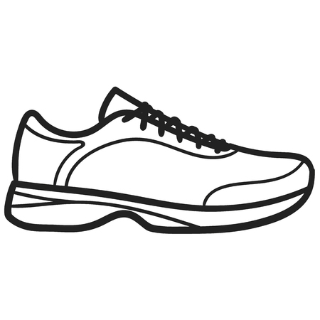 Beautiful hand-drawn outlined icon of a running sneaker in white background
