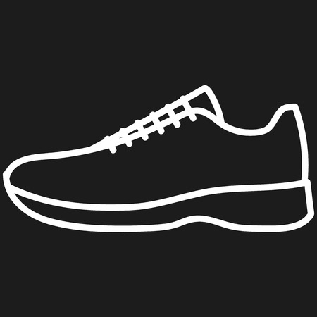 Beautiful hand-drawn outlined icon of a men's shoe in dark background