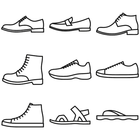 Set of beautiful hand-drawn outlined icons of a men's shoes in white background Vector Illustration
