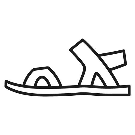 Beautiful hand-drawn outlined icon of a men's shoe in white background