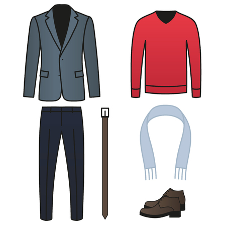 Set of fashion mens look parts, picked up of jacket, pants, sweater, scarf, belt and classic shoes