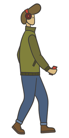 Drawn vector illustration of a stylish man with stylish haircut walking and listening to music in wireless headphones Ilustrace