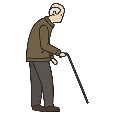 Old man walking alone with a cane Illustration