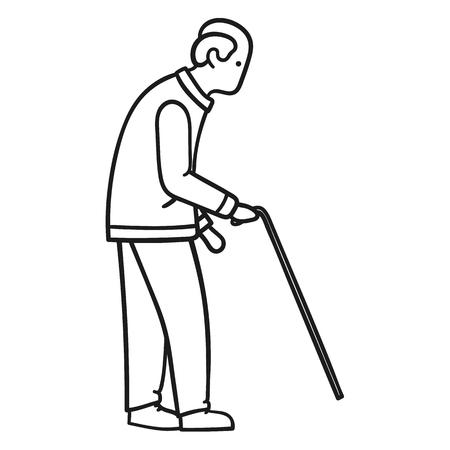 Uomo anziano che cammina da solo con un bastone Vettoriali