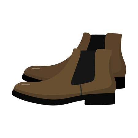 Beautiful hand-drawn clored icon of a mens chelsi shoe in white background