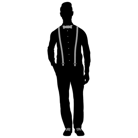 Isolated silhouette of a stylish man wearing a bow tie and leather belt in white background Stockfoto - 123982949