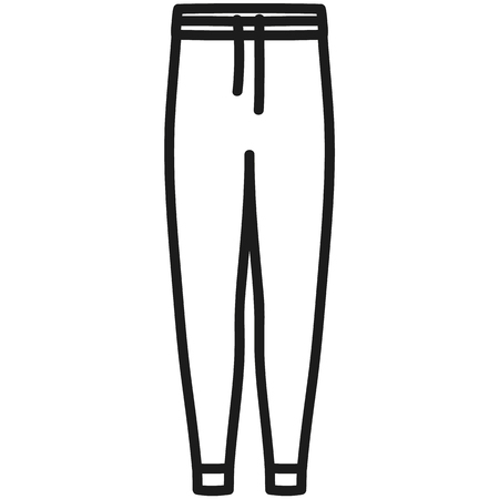 Beautiful hand-drawn outlined icon of a men's pants in white background