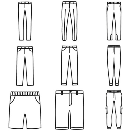 Set of beautiful hand-drawn outlined icons of a men's pants in white background Illustration