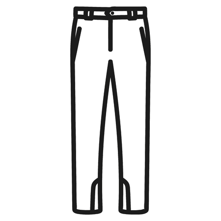 Beautiful hand-drawn outlined icon of a men's pants in white background Banque d'images - 123582448