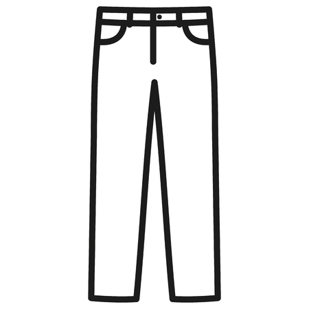 Beautiful hand-drawn outlined icon of a men's pants in white background Banque d'images - 123582449