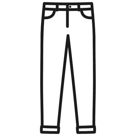 Beautiful hand-drawn outlined icon of a men's pants in white background Banque d'images - 123582450