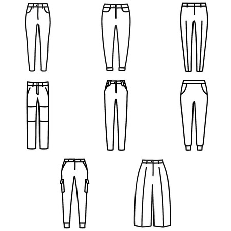 Set of beautiful hand-drawn outlined icons of a men's pants in white background Banque d'images - 123516938