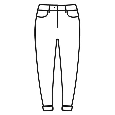 Beautiful hand-drawn outlined icon of a men's pants in white background Banque d'images - 123516940
