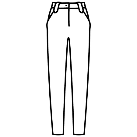 Beautiful hand-drawn outlined icon of a men's pants in white background Banque d'images - 123516943