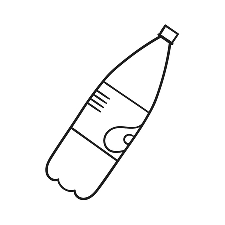 Beautiful hand-drawn outlined icon of a soda bottle