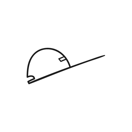 Beautiful hand-drawn outlined icon of a stylish baseball cap
