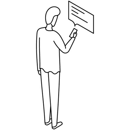 Drawn illustration of a man standing, recieving and reading a message on the smartphone