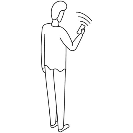 Drawn illustration of a man standing and looking at his phone with WiFi turned on