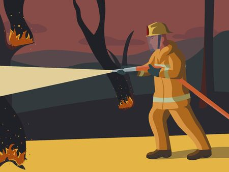 Vector illustration of a firefighter who puts out a fire in the forest