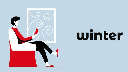 Vector colorful and simple illustration of activity of a men in winter Banque d'images - 131829233