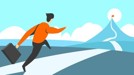 Vector illustration of a successful man confidently runs to his goal