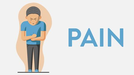 Vector colorful illustration of a man suffering from pain in his stomach