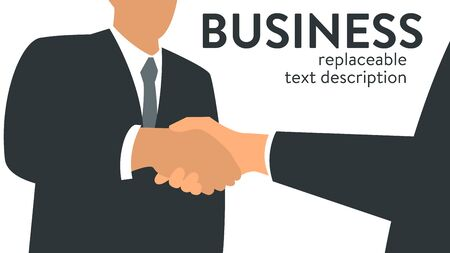 Vector illustration of two businessmen shaking hands. Poster with text placeholder and description