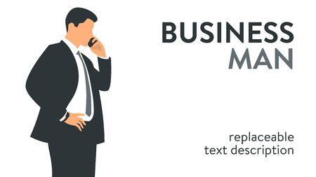 Vector illustration of a businessman talking on the phone. Poster with text placeholder and description
