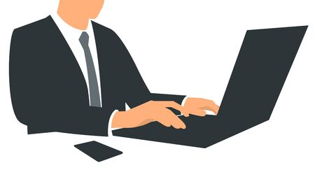 Vector illustration of a businessman sits in the office and works at a laptop. Poster with text placeholder and description