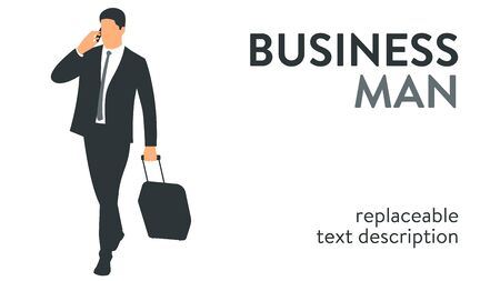 Vector illustration of a businessman in a suit travelling with a suitcase on wheels. Poster with text placeholder and description Illusztráció