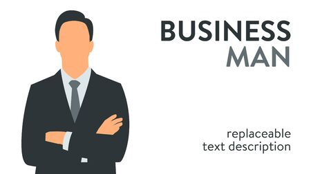 Vector illustration of a successful businessman in a suit standing with arms crossed. Poster with text placeholder and description Çizim