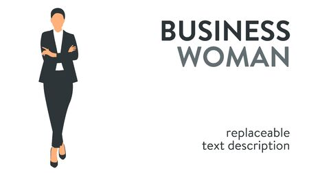 Vector illustration of a successful and beautiful businesswoman in a suit standing with arms crossed. Poster with text placeholder and description